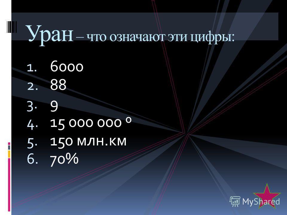 1. 6000 2. 88 3. 9 4. 15 000 000 º 5. 150 млн.км 6. 70% Уран – что означают эти цифры: