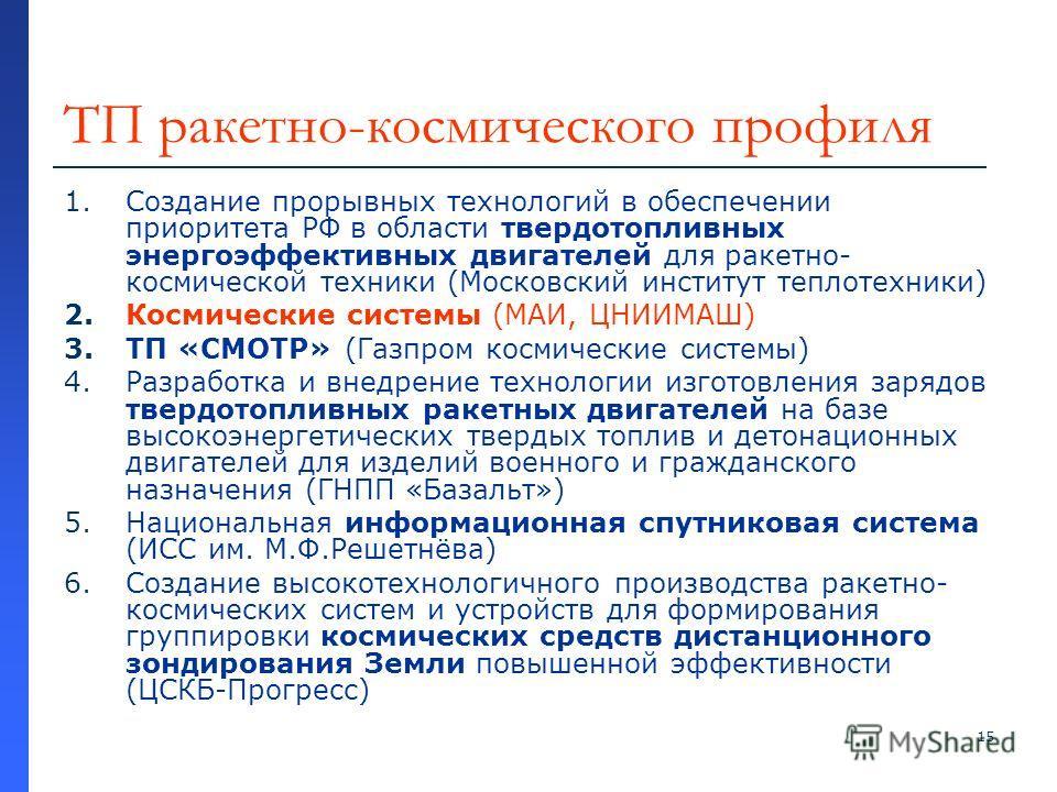 15 ТП ракетно-космического профиля 1.Создание прорывных технологий в обеспечении приоритета РФ в области твердотопливных энергоэффективных двигателей для ракетно- космической техники (Московский институт теплотехники) 2.Космические системы (МАИ, ЦНИИ