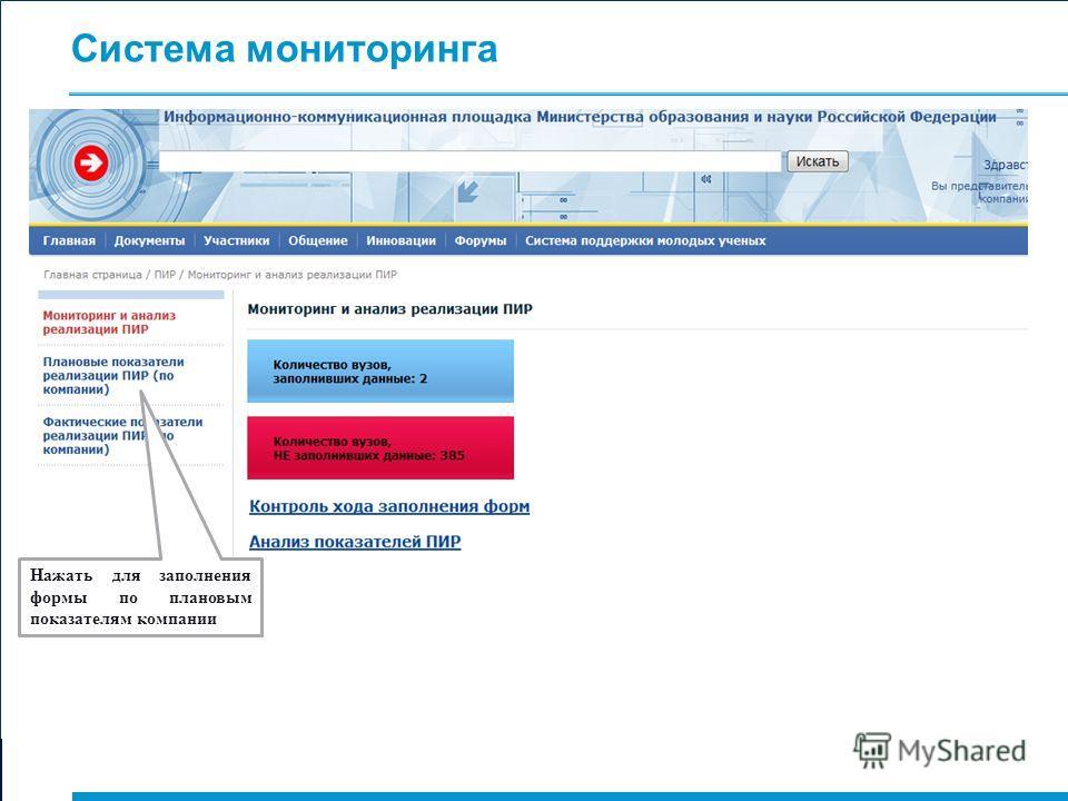 Система мониторинга Нажать для заполнения формы по плановым показателям компании