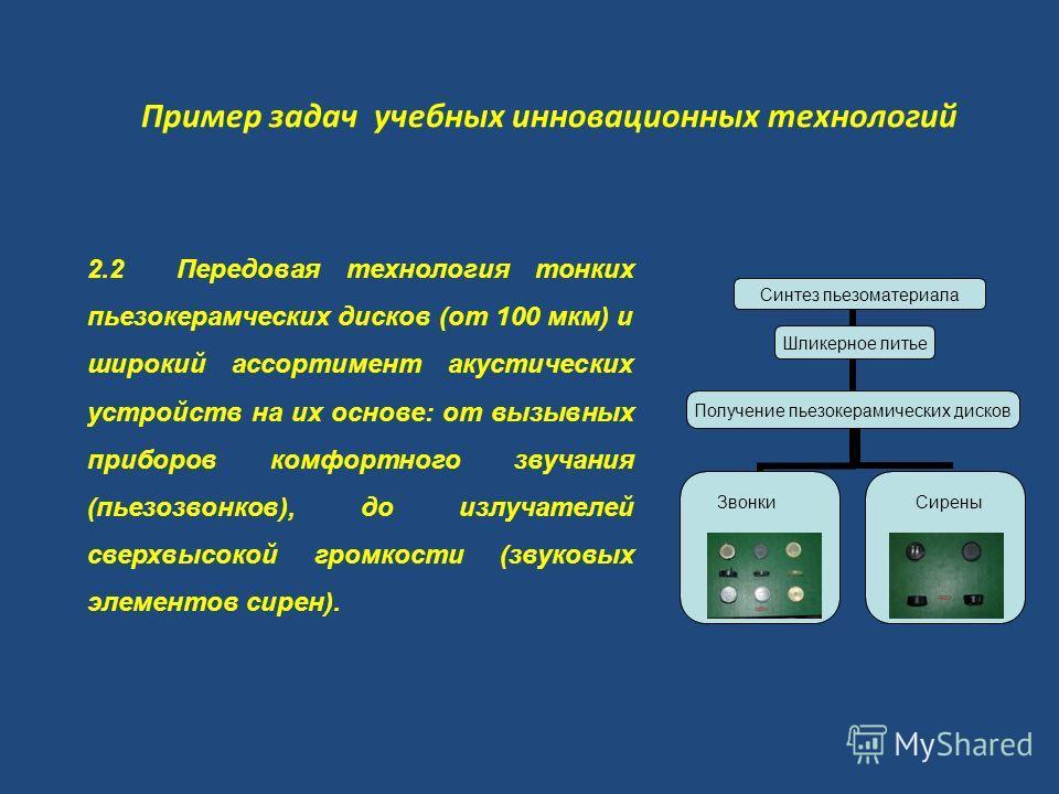 Пример задач учебных инновационных технологий 2.2 Передовая технология тонких пьезокерамческих дисков (от 100 мкм) и широкий ассортимент акустических устройств на их основе: от вызывных приборов комфортного звучания (пьезозвонков), до излучателей све