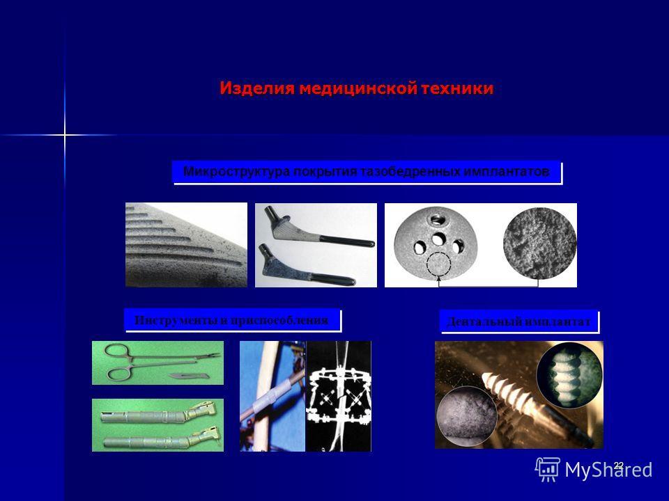 22 Изделия медицинской техники Микроструктура покрытия тазобедренных имплантатов Инструменты и приспособления Дентальный имплантат