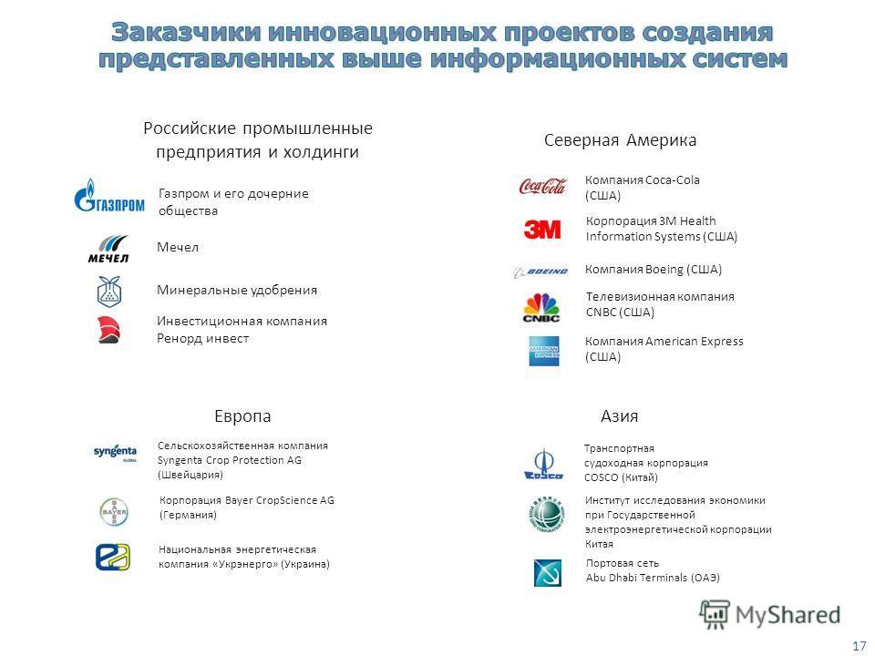 Газпром и его дочерние общества Российские промышленные предприятия и холдинги Минеральные удобрения Инвестиционная компания Ренорд инвест Мечел 17 Северная Америка Корпорация 3M Health Information Systems (США) Компания American Express (США) Телеви