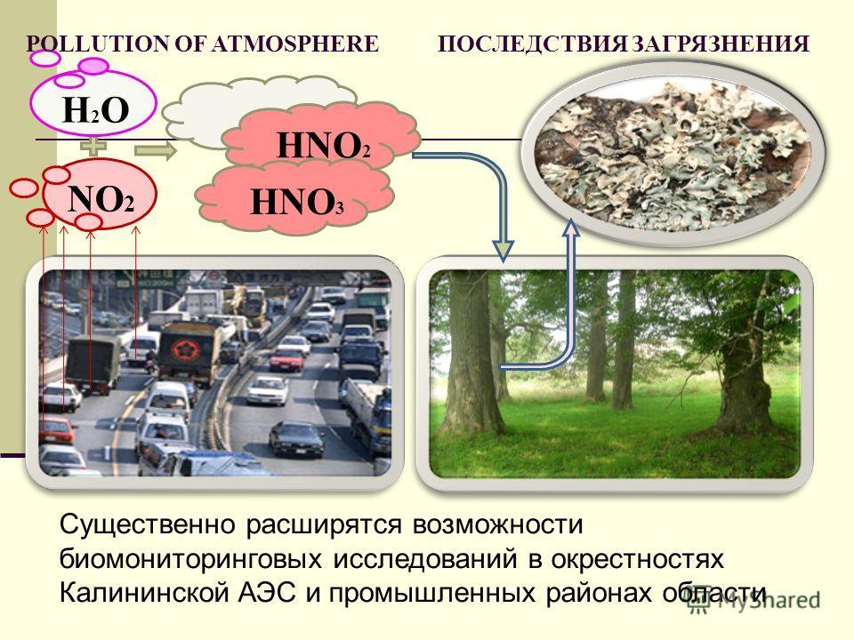 H2OH2O NO 2 HNO 2 HNO 3 POLLUTION OF ATMOSPHERE ПОСЛЕДСТВИЯ ЗАГРЯЗНЕНИЯ Существенно расширятся возможности биомониторинговых исследований в окрестностях Калининской АЭС и промышленных районах области