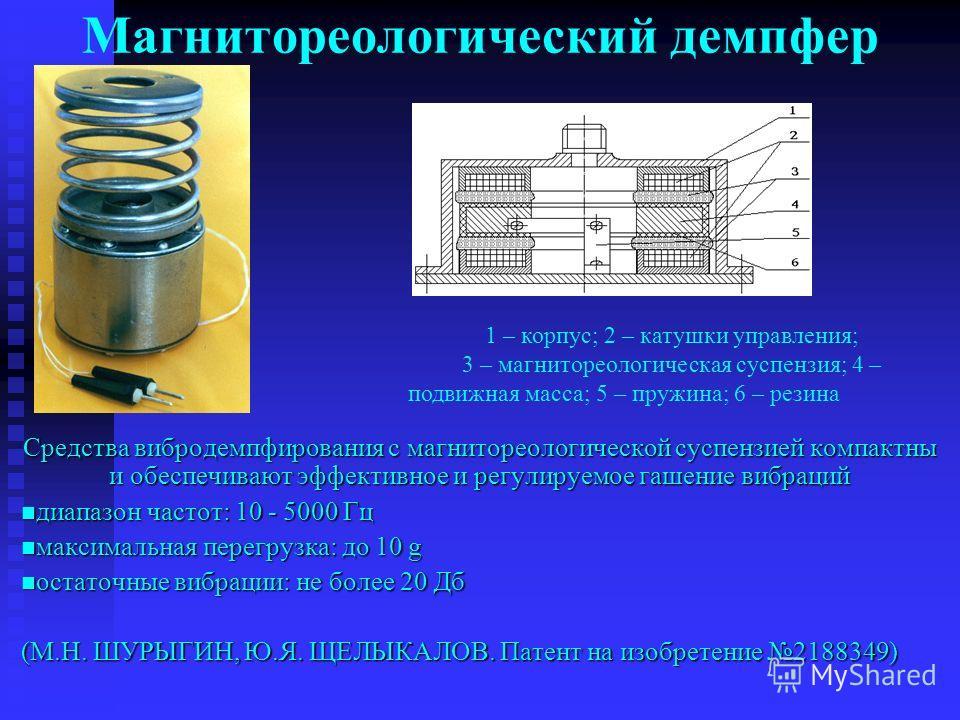 Магнитореологический демпфер Средства вибродемпфирования с магнитореологической суспензией компактны и обеспечивают эффективное и регулируемое гашение вибраций диапазон частот: 10 - 5000 Гц диапазон частот: 10 - 5000 Гц максимальная перегрузка: до 10
