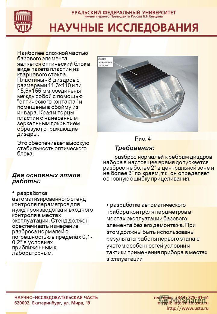 Рис. 4 Наиболее сложной частью базового элемента является оптический блок в виде пакета пластин из кварцевого стекла. Пластины - 8 диэдров с размерами 11,3х110 или 15,6х155 мм.соединены между собой с помощью