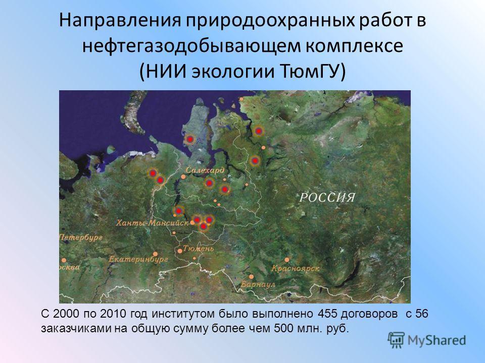 Направления природоохранных работ в нефтегазодобывающем комплексе (НИИ экологии ТюмГУ) С 2000 по 2010 год институтом было выполнено 455 договоров с 56 заказчиками на общую сумму более чем 500 млн. руб.