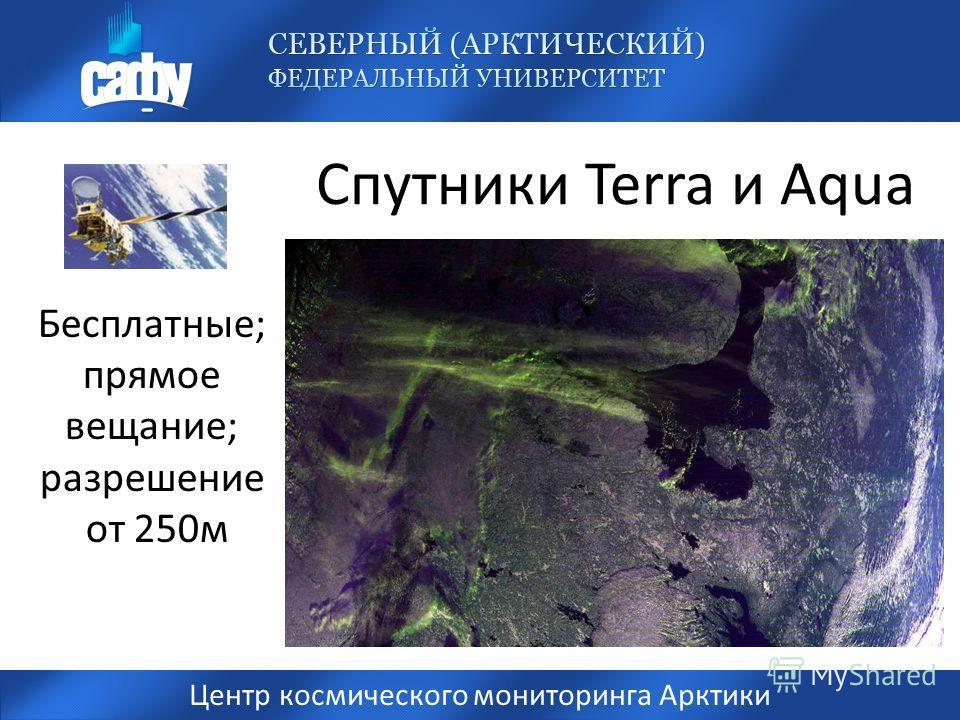 Спутники Terra и Aqua Центр космического мониторинга Арктики Бесплатные; прямое вещание; разрешение от 250м