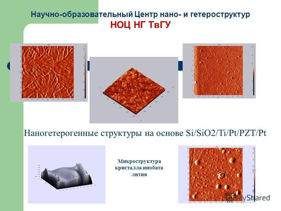 Наногетерогенные структуры на основе Si/SiO2/Ti/Pt/PZT/Pt Микроструктура кристалла ниобата лития Научно-образовательный Центр нано- и гетероструктур НОЦ НГ ТвГУ