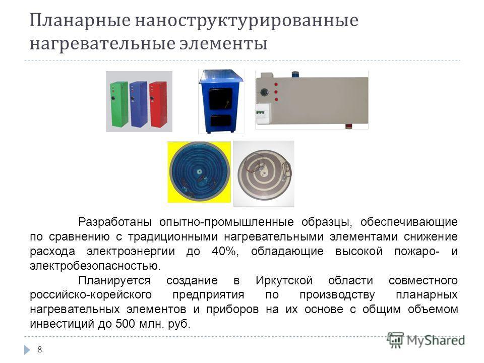 Планарные наноструктурированные нагревательные элементы 8 Разработаны опытно-промышленные образцы, обеспечивающие по сравнению с традиционными нагревательными элементами снижение расхода электроэнергии до 40%, обладающие высокой пожаро- и электробезо