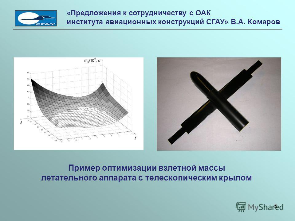 Пример оптимизации взлетной массы летательного аппарата с телескопическим крылом «Предложения к сотрудничеству с ОАК института авиационных конструкций СГАУ» В.А. Комаров 5
