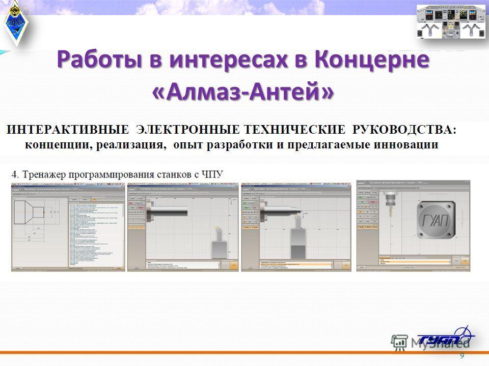 Работы в интересах в Концерне «Алмаз-Антей» 9 Интерактивные