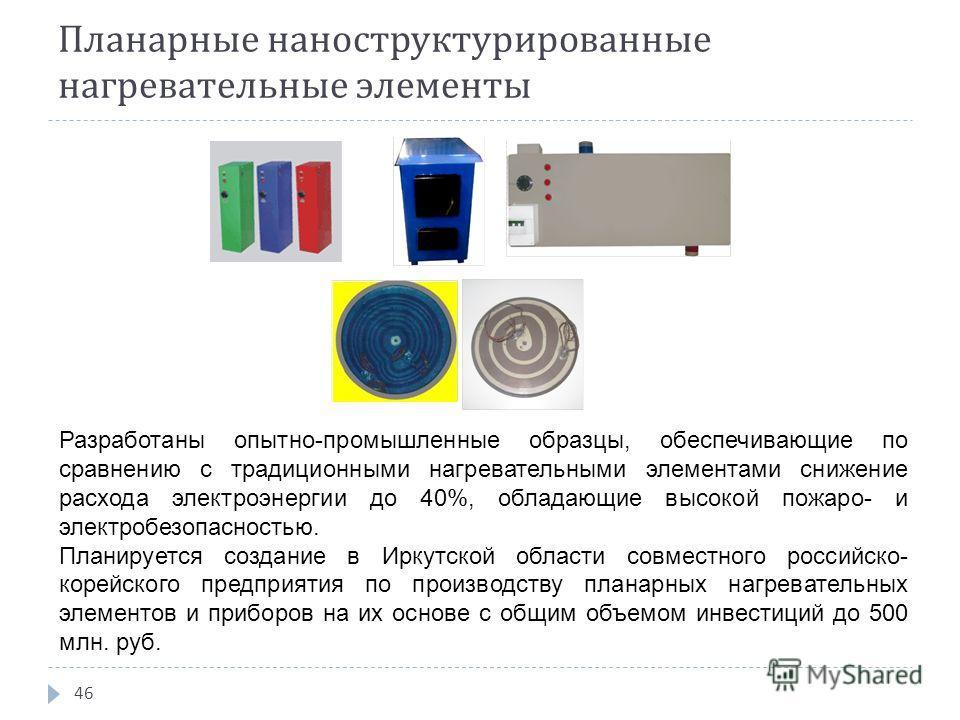 Планарные наноструктурированные нагревательные элементы 46 Разработаны опытно-промышленные образцы, обеспечивающие по сравнению с традиционными нагревательными элементами снижение расхода электроэнергии до 40%, обладающие высокой пожаро- и электробез