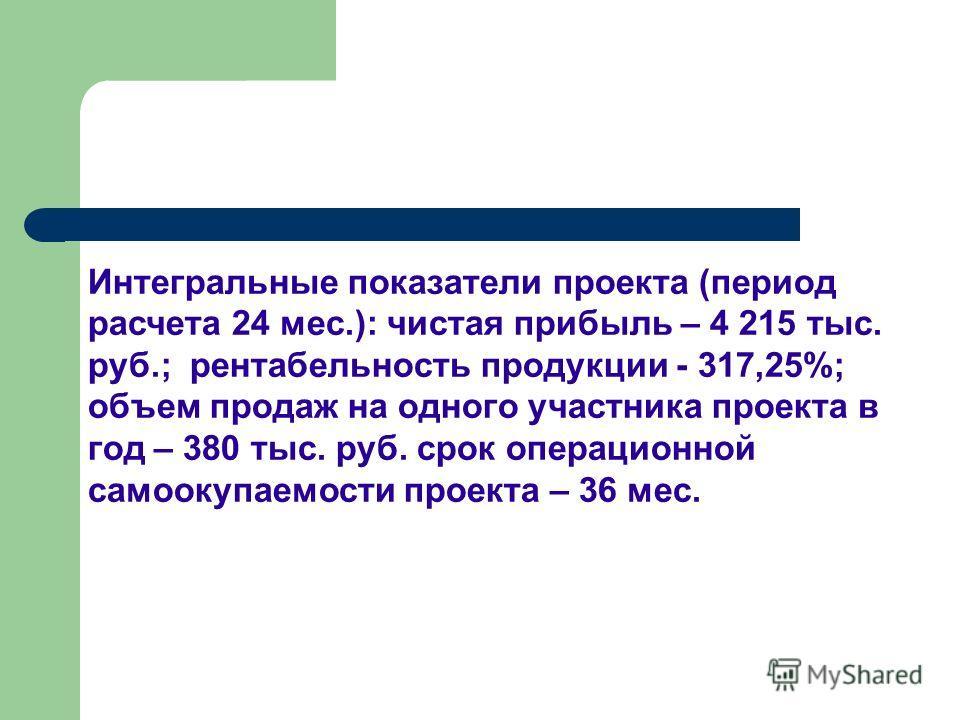 Интегральные показатели проекта (период расчета 24 мес.): чистая прибыль – 4 215 тыс. руб.; рентабельность продукции - 317,25%; объем продаж на одного участника проекта в год – 380 тыс. руб. срок операционной самоокупаемости проекта – 36 мес.