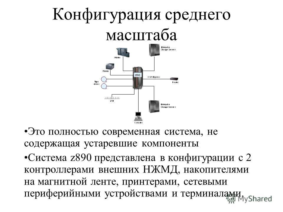 Конфигурация среднего масштаба Это полностью современная система, не содержащая устаревшие компоненты Система z890 представлена в конфигурации с 2 контроллерами внешних НЖМД, накопителями на магнитной ленте, принтерами, сетевыми периферийными устройс