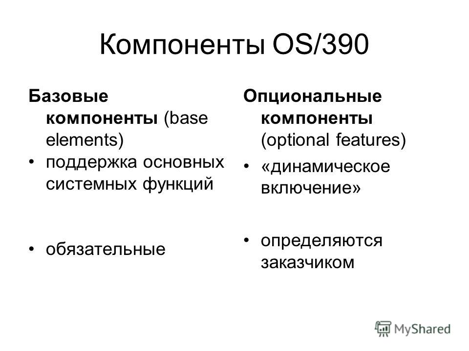Компоненты OS/390 Базовые компоненты (base elements) поддержка основных системных функций обязательные Опциональные компоненты (optional features) «динамическое включение» определяются заказчиком