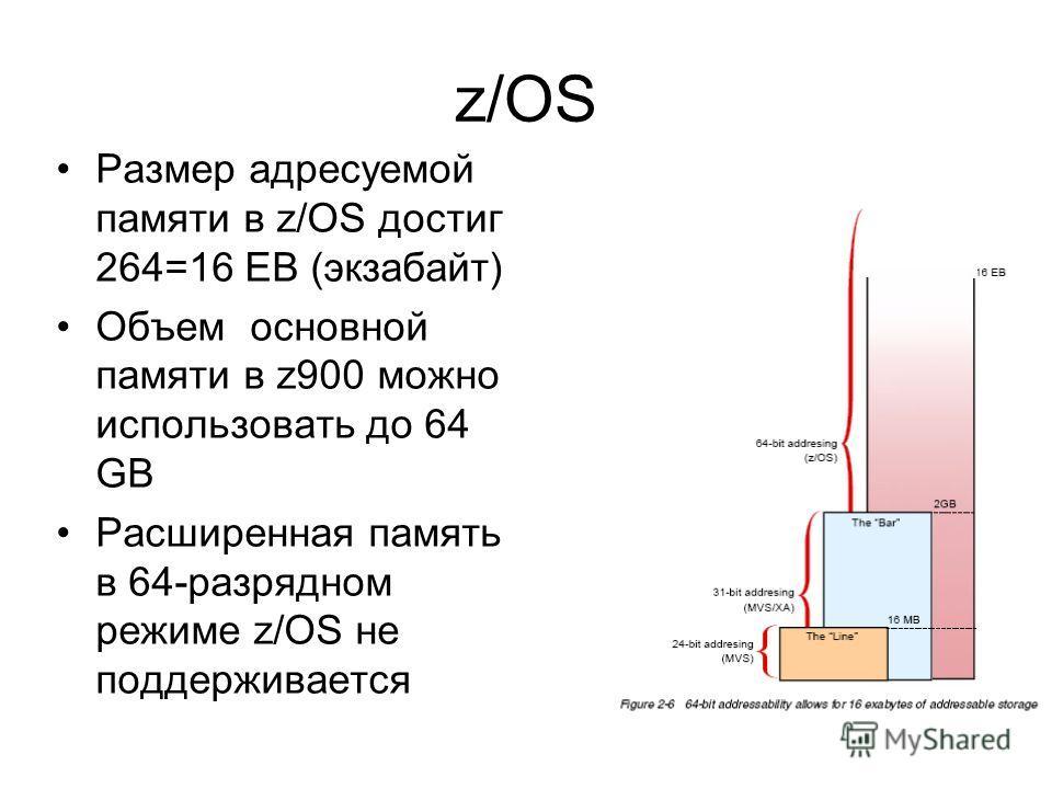 z/OS Размер адресуемой памяти в z/OS достиг 264=16 EB (экзабайт) Объем основной памяти в z900 можно использовать до 64 GB Расширенная память в 64-разрядном режиме z/OS не поддерживается