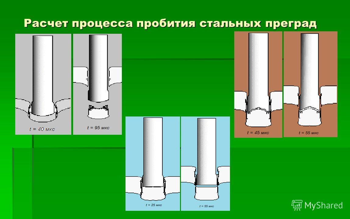 Расчет процесса пробития стальных преград