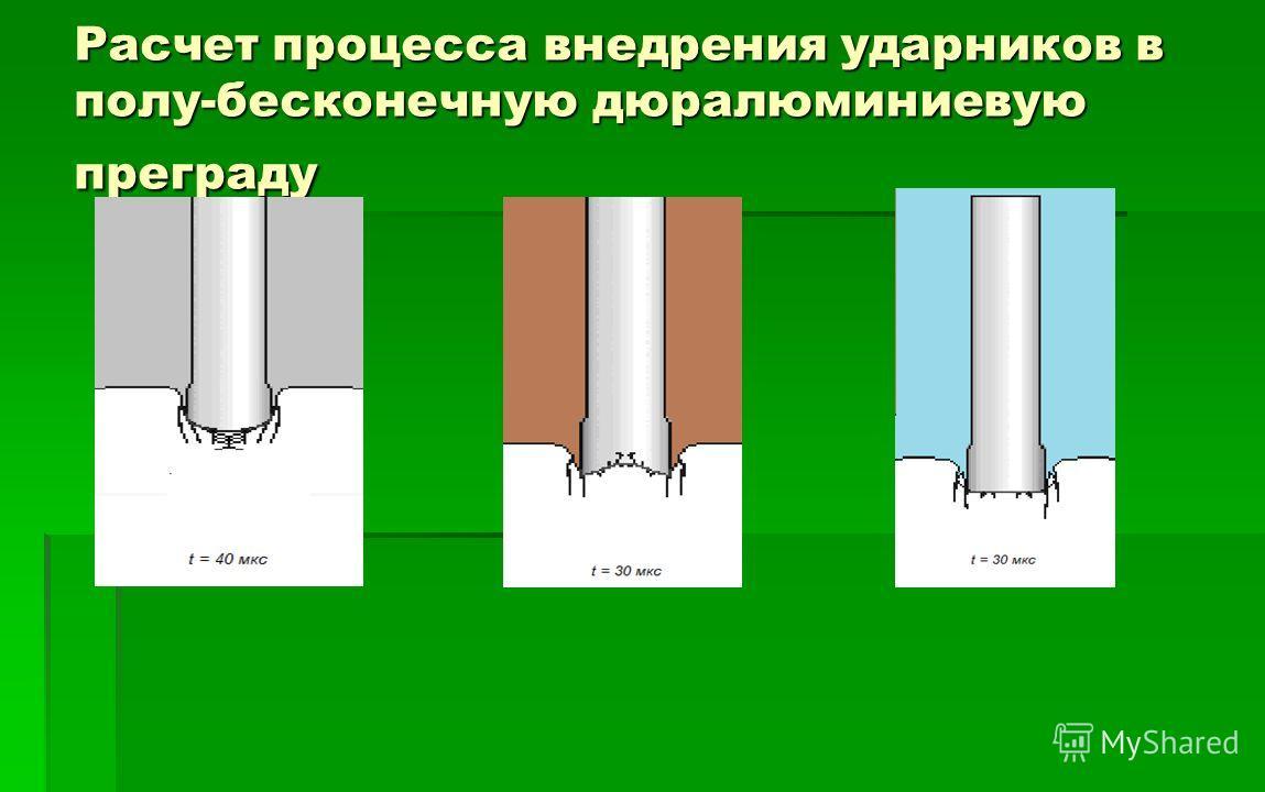Расчет процесса внедрения ударников в полу-бесконечную дюралюминиевую преграду