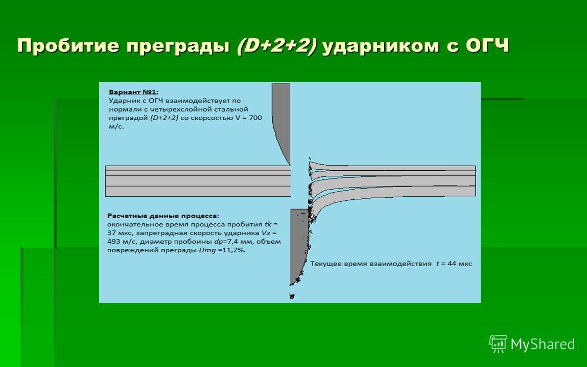 Пробитие преграды (D+2+2) ударником с ОГЧ