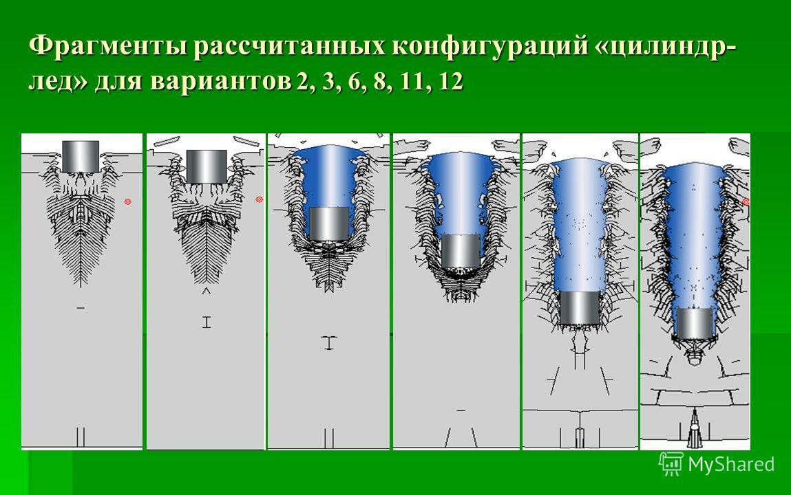 Фрагменты рассчитанных конфигураций «цилиндр- лед» для вариантов 2, 3, 6, 8, 11, 12