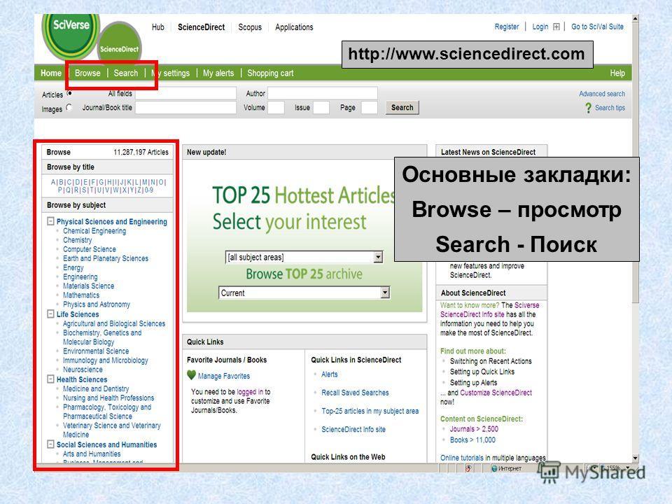 http://www.sciencedirect.com Основные закладки: Browse – просмотр Search - Поиск