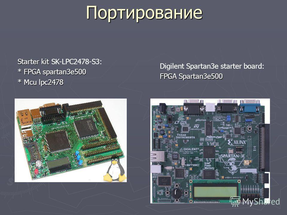 Портирование Starter kit Starter kit SK-LPC2478-S3: * FPGA spartan3e500 * Mcu lpc2478 Digilent Spartan3e starter board: FPGA Spartan3e500