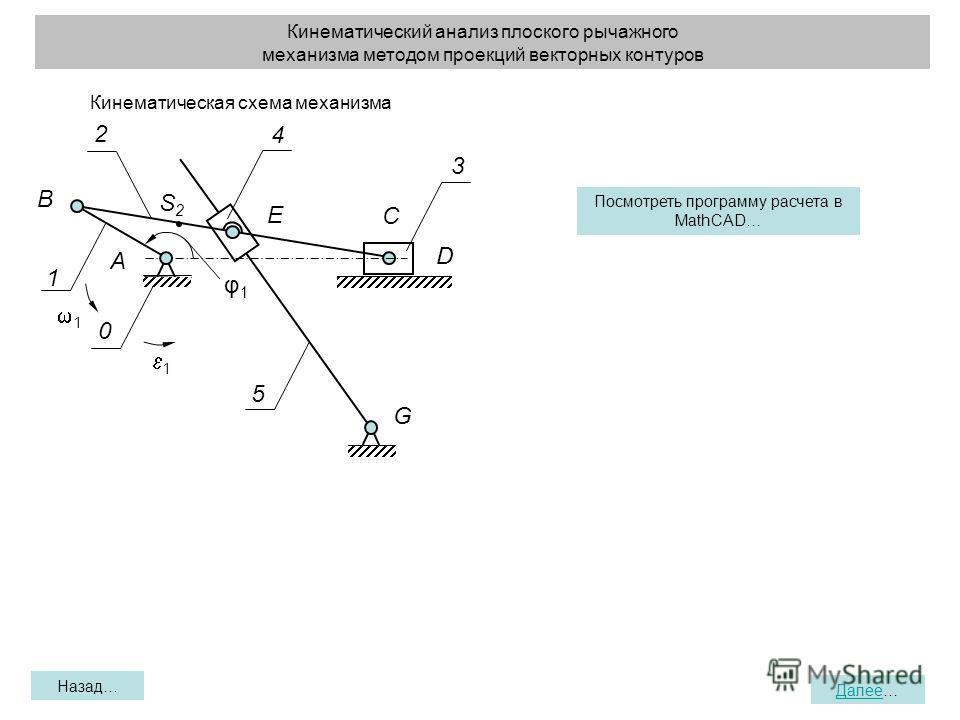 Кинематический анализ плоского рычажного механизма методом проекций векторных контуров Назад… Далее… D 1 0 3 2 G A B S2S2 E φ1φ1 C 4 5 1 1 Кинематическая схема механизма Посмотреть программу расчета в MathCAD…