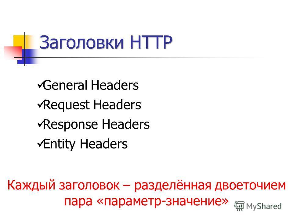 Заголовки HTTP General Headers Request Headers Response Headers Entity Headers Каждый заголовок – разделённая двоеточием пара «параметр-значение»