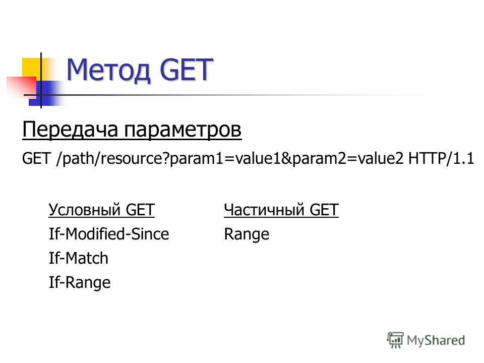 Метод GET Условный GET If-Modified-Since If-Match If-Range Передача параметров GET /path/resource?param1=value1&param2=value2 HTTP/1.1 Частичный GET Range