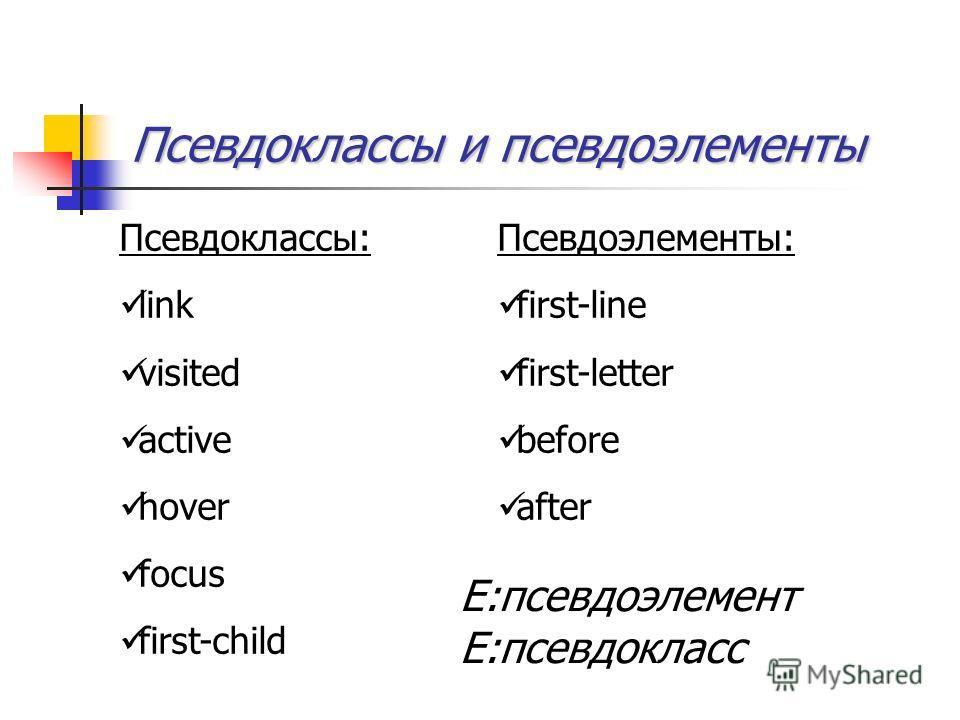 Псевдоклассы и псевдоэлементы Псевдоклассы: link visited active hover focus first-child Псевдоэлементы: first-line first-letter before after E:псевдоэлемент E:псевдокласс