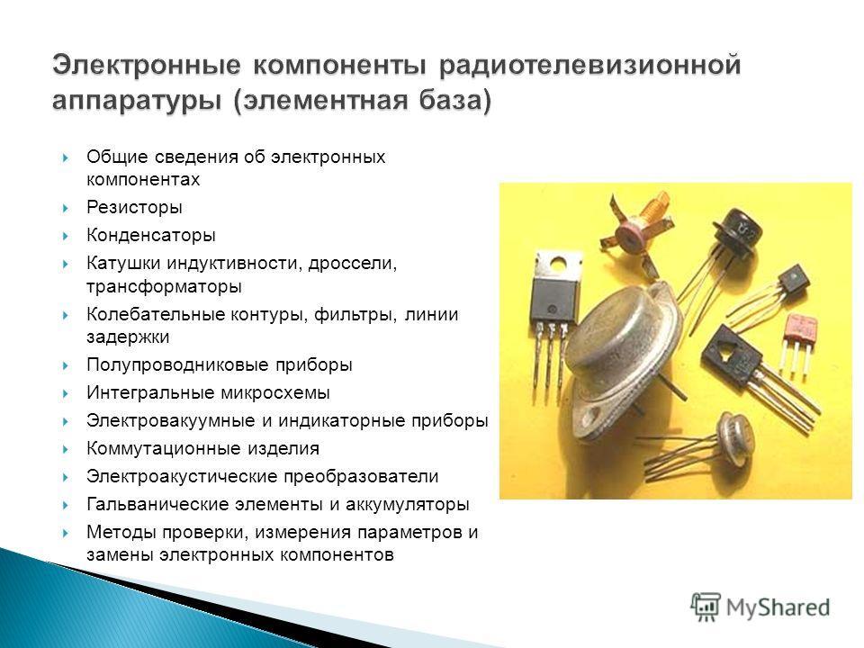 Общие сведения об электронных компонентах Резисторы Конденсаторы Катушки индуктивности, дроссели, трансформаторы Колебательные контуры, фильтры, линии задержки Полупроводниковые приборы Интегральные микросхемы Электровакуумные и индикаторные приборы