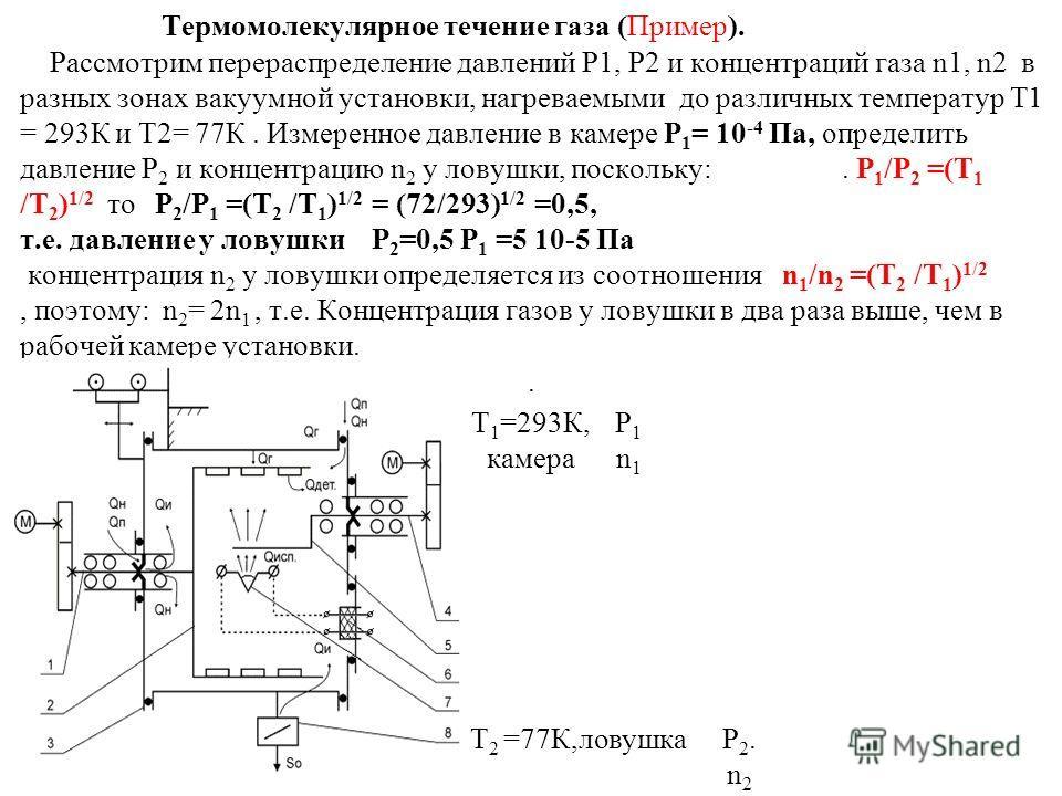 Термомолекулярное течение газа (Пример). Рассмотрим перераспределение давлений Р1, Р2 и концентраций газа n1, n2 в разных зонах вакуумной установки, нагреваемыми до различных температур Т1 = 293К и Т2= 77К. Измеренное давление в камере Р 1 = 10 -4 Па