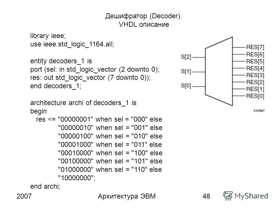 2007Архитектура ЭВМ48 Дешифратор (Decoder). VHDL описание library ieee; use ieee.std_logic_1164.all; entity decoders_1 is port (sel: in std_logic_vector (2 downto 0); res: out std_logic_vector (7 downto 0)); end decoders_1; architecture archi of deco