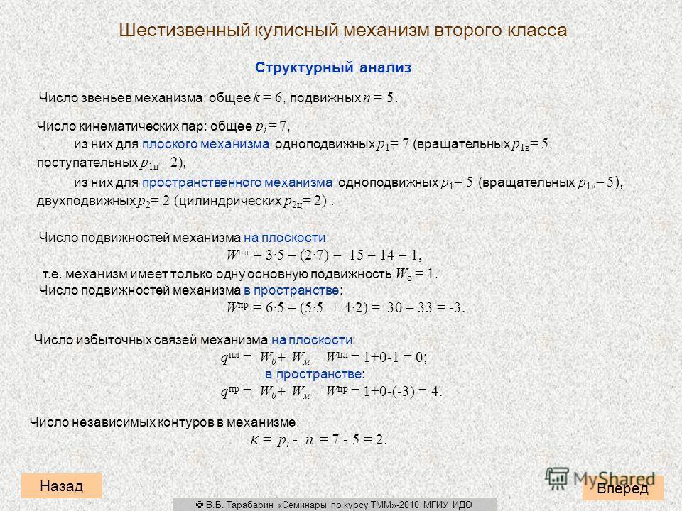 Структурный анализ Число звеньев механизма: общее k = 6, подвижных n = 5. Число кинематических пар: общее p i = 7, из них для плоского механизма одноподвижных p 1 = 7 (вращательных p 1в = 5, поступательных p 1п = 2 ), из них для пространственного мех