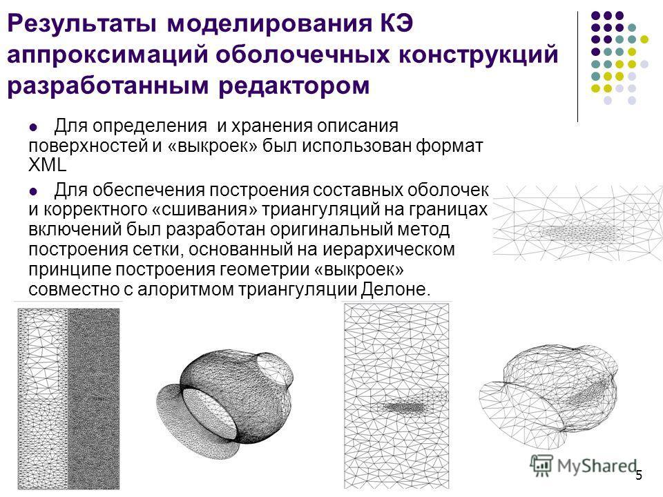 Результаты моделирования КЭ аппроксимаций оболочечных конструкций разработанным редактором Для определения и хранения описания поверхностей и «выкроек» был использован формат XML Для обеспечения построения составных оболочек и корректного «сшивания»