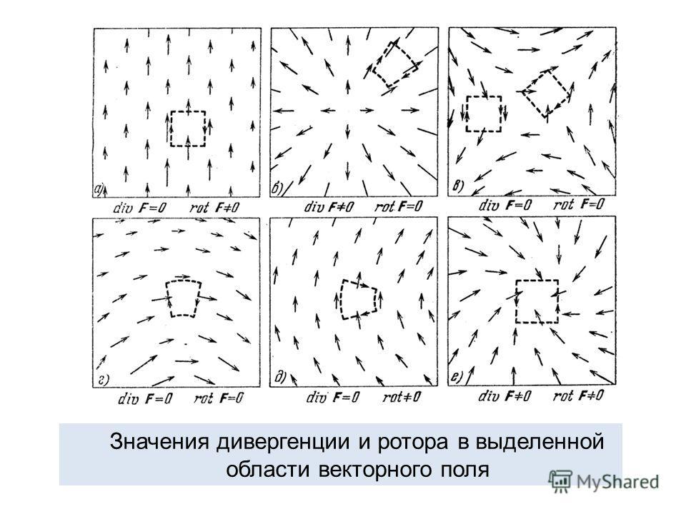 Значения дивергенции и ротора в выделенной области векторного поля