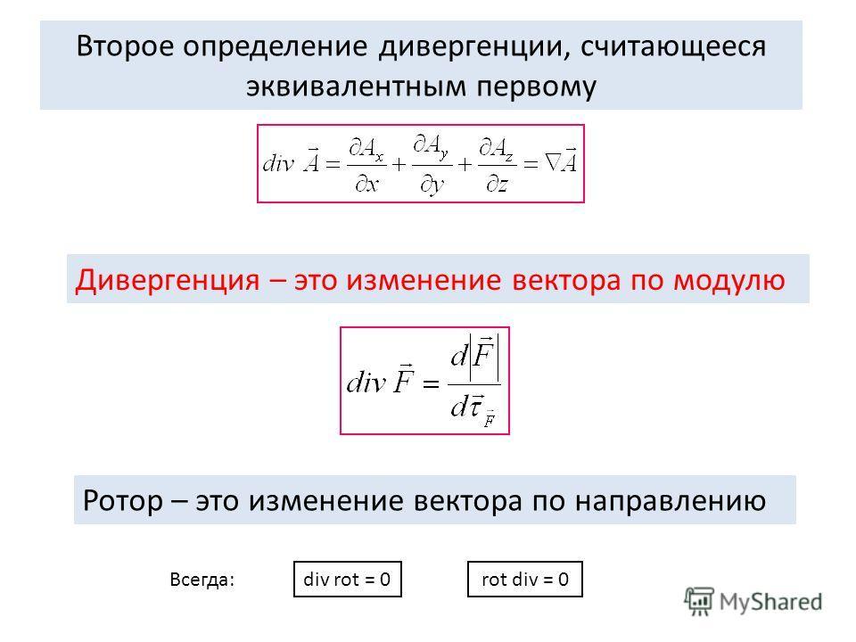 Дивергенция – это изменение вектора по модулю Второе определение дивергенции, считающееся эквивалентным первому Ротор – это изменение вектора по направлению div rot = 0rot div = 0 Всегда: