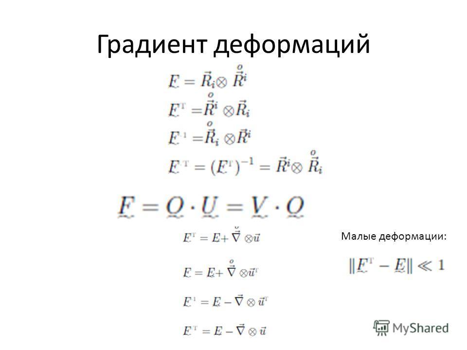 Градиент деформаций Малые деформации: