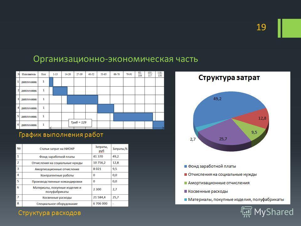 Организационно-экономическая часть 19 График выполнения работ Структура расходов