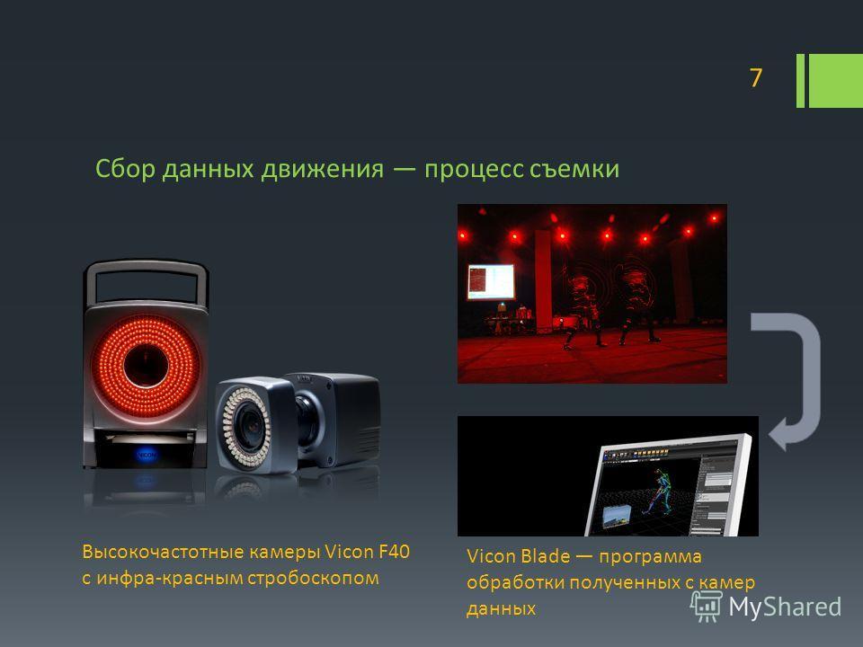 Сбор данных движения процесс съемки 7 Высокочастотные камеры Vicon F40 с инфра-красным стробоскопом Vicon Blade программа обработки полученных с камер данных