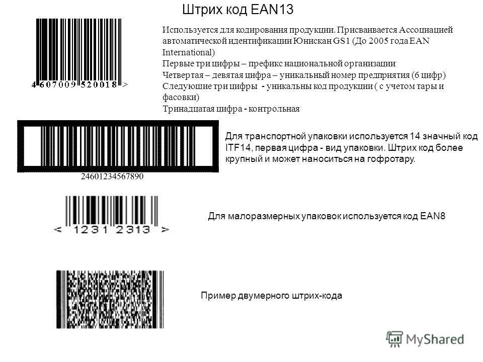 Штрих код EAN13 Используется для кодирования продукции. Присваивается Ассоциацией автоматической идентификации Юнискан GS1 (До 2005 года EAN International) Первые три цифры – префикс национальной организации Четвертая – девятая цифра – уникальный ном