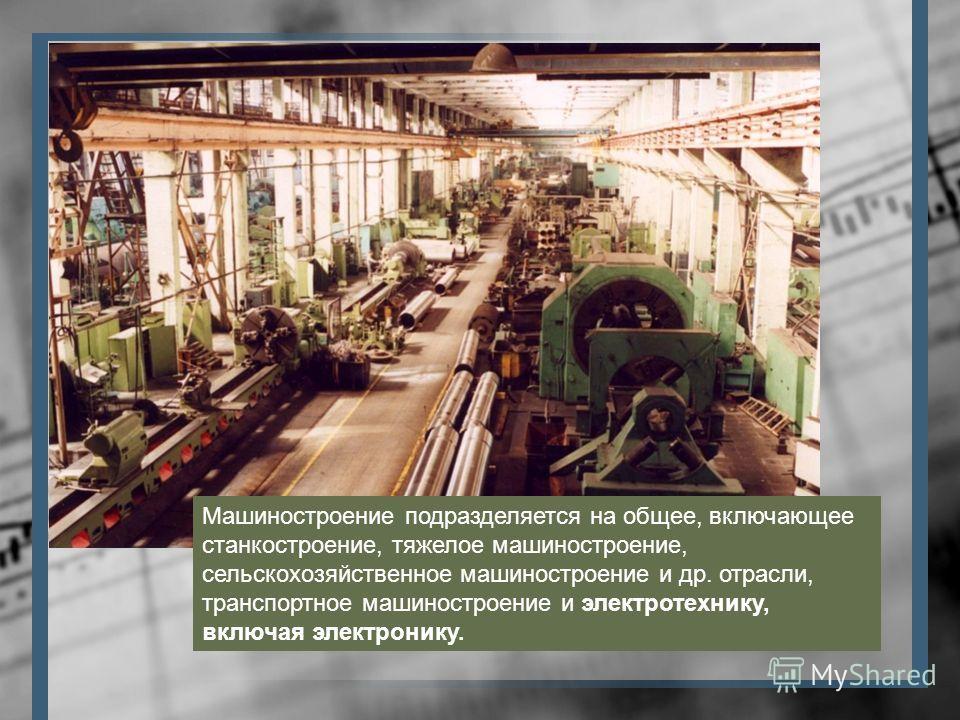Машиностроение подразделяется на общее, включающее станкостроение, тяжелое машиностроение, сельскохозяйственное машиностроение и др. отрасли, транспортное машиностроение и электротехнику, включая электронику.