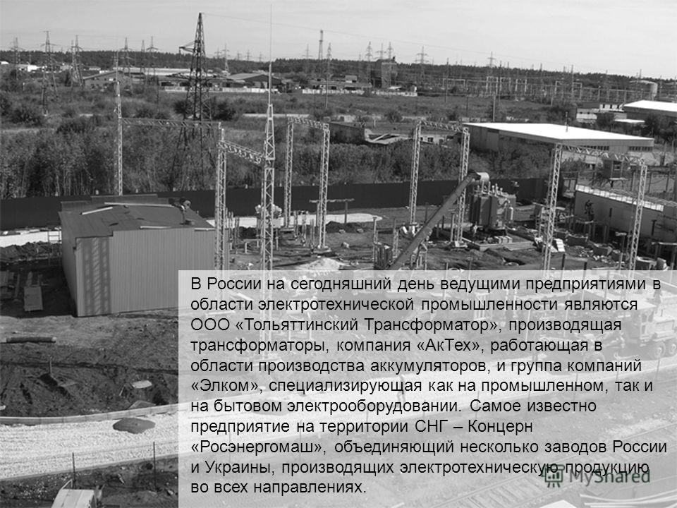 В России на сегодняшний день ведущими предприятиями в области электротехнической промышленности являются ООО «Тольяттинский Трансформатор», производящая трансформаторы, компания «АкТех», работающая в области производства аккумуляторов, и группа компа