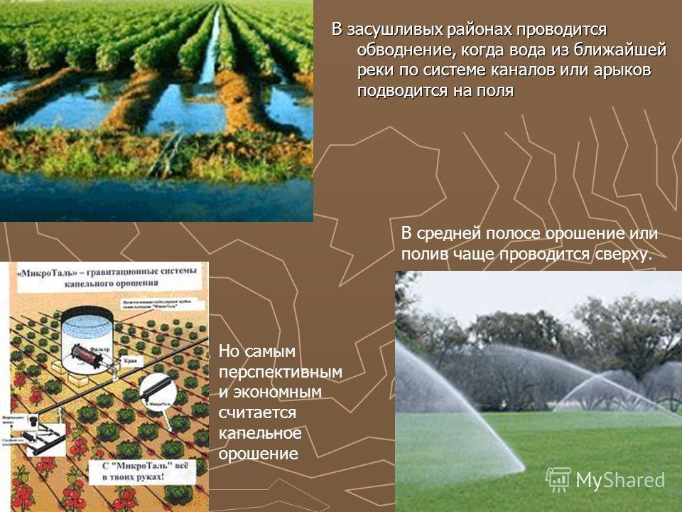 В засушливых районах проводится обводнение, когда вода из ближайшей реки по системе каналов или арыков подводится на поля В средней полосе орошение или полив чаще проводится сверху. Но самым перспективным и экономным считается капельное орошение