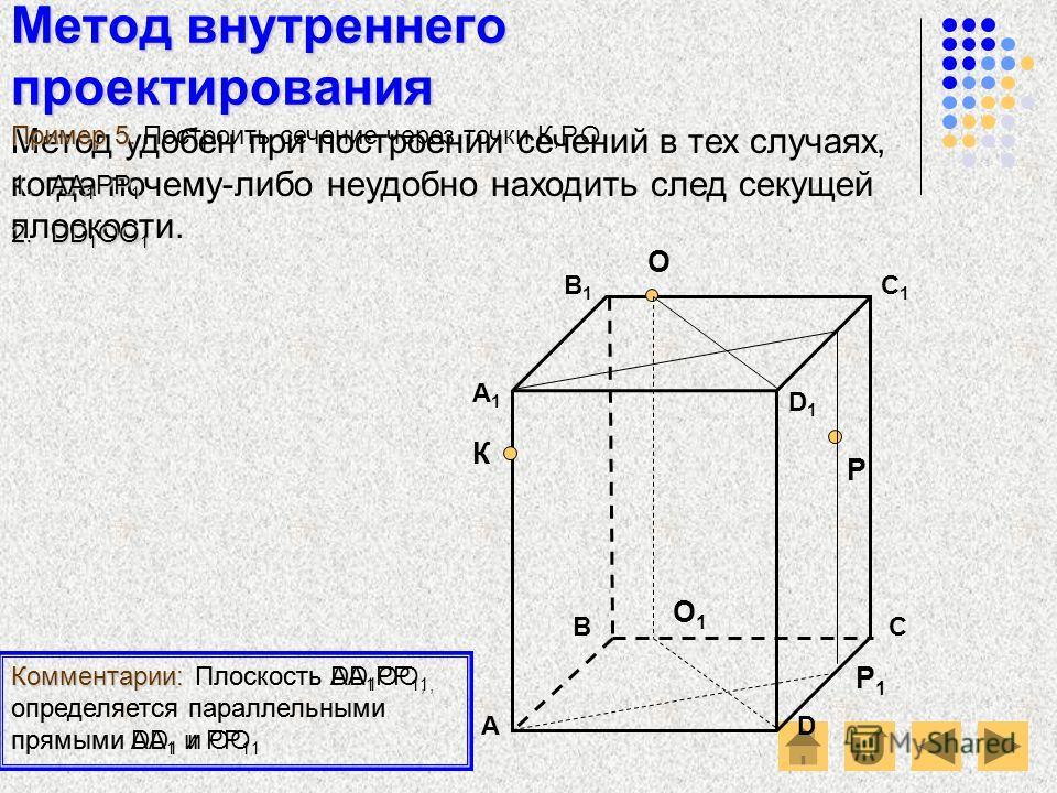 Метод внутреннего проектирования АD В1В1 ВС А1А1 C1C1 D1D1 О Р К Метод удобен при построении сечений в тех случаях, когда почему-либо неудобно находить след секущей плоскости. Пример 5. Пример 5. Построить сечение через точки К,Р,О. Комментарии: Плос