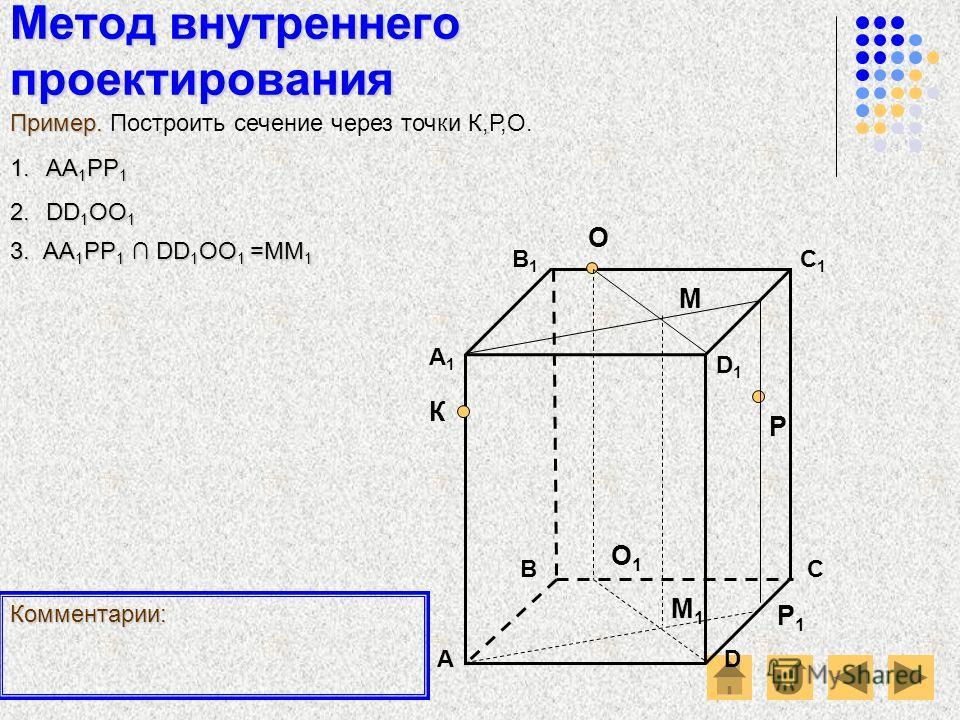 Метод внутреннего проектирования АD В1В1 ВС А1А1 C1C1 D1D1 О Р К Пример. Пример. Построить сечение через точки К,Р,О. Комментарии: 1.АА 1 РР 1 2.DD 1 ОО 1 Р1Р1 О1О1 3. А А А АА1РР1 DD1ОО1 =ММ1 М М1М1