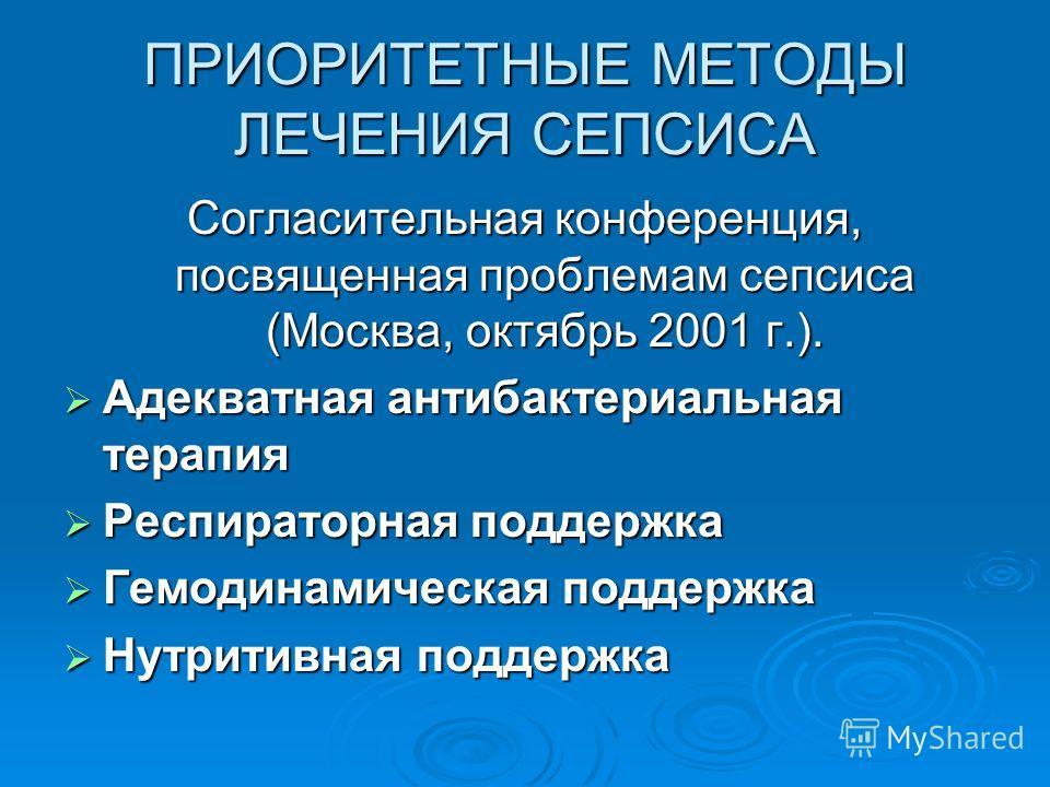 ПРИОРИТЕТНЫЕ МЕТОДЫ ЛЕЧЕНИЯ СЕПСИСА Согласительная конференция, посвященная проблемам сепсиса (Москва, октябрь 2001 г.). Адекватная антибактериальная терапия Адекватная антибактериальная терапия Респираторная поддержка Респираторная поддержка Гемодин