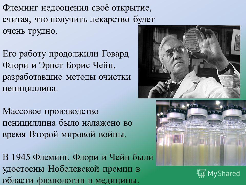 Флеминг недооценил своё открытие, считая, что получить лекарство будет очень трудно. Его работу продолжили Говард Флори и Эрнст Борис Чейн, разработавшие методы очистки пенициллина. Массовое производство пенициллина было налажено во время Второй миро