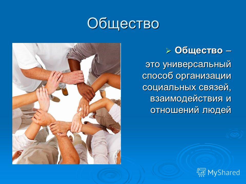 Общество Общество – Общество – это универсальный способ организации социальных связей, взаимодействия и отношений людей