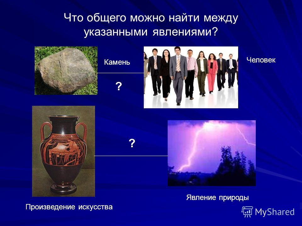 Что общего можно найти между указанными явлениями? Явление природы Человек Произведение искусства Камень ? ?